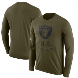 Men's Oakland Raiders Olive 2018 Salute to Service Sideline Legend Performance Long Sleeve T-Shirt